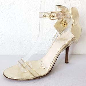 Moschino Cheap and Chic Clear Gold Bow Heels